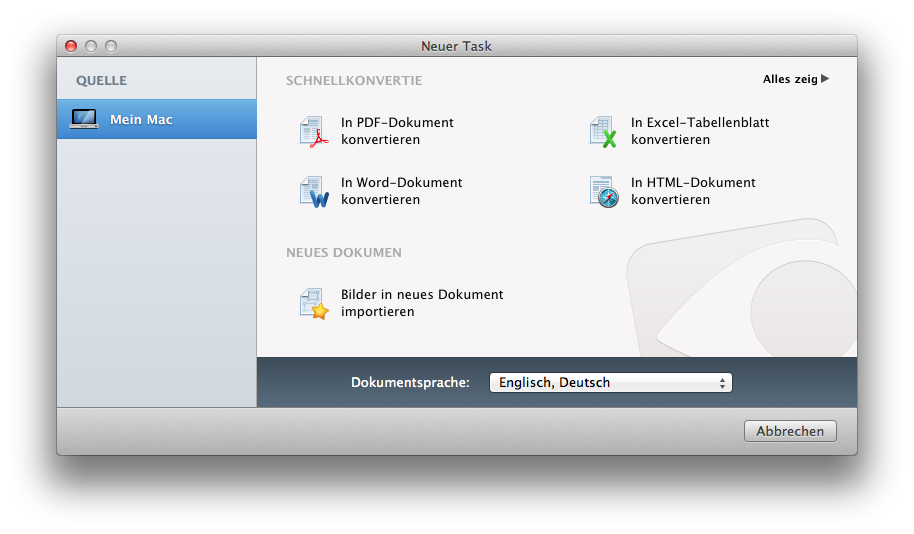 Wählen Sie Ihren Task zur Dokumentkonvertierung