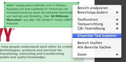 Kopieren Sie Textabschnitte zum Zitieren und extrahieren Sie Daten aus Dokumenten