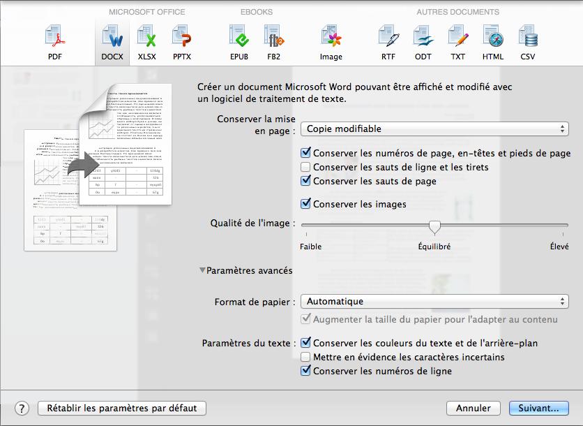 Enregistrez les documents dans le format de votre choix ou avec votre application favorit