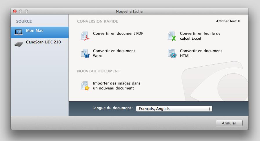 Choisissez votre tâche de conversion de document
